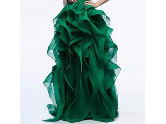 Dark Green Elegant Long Skirt Bridal Gorgeous Ruffles Tiered Thick Organza  For Formal Party Floor Length Many Colors
