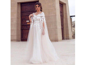 Light Gray Wedding Dress Bridal Gown Full Length Medieval Style Cloak Sleeve