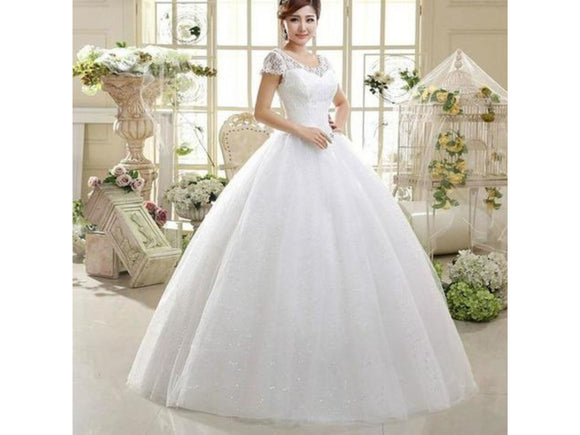 Delicate White Lacy Wedding Dress Fitted Bodice Cap Sleeves Natural Waist Bridal Gown