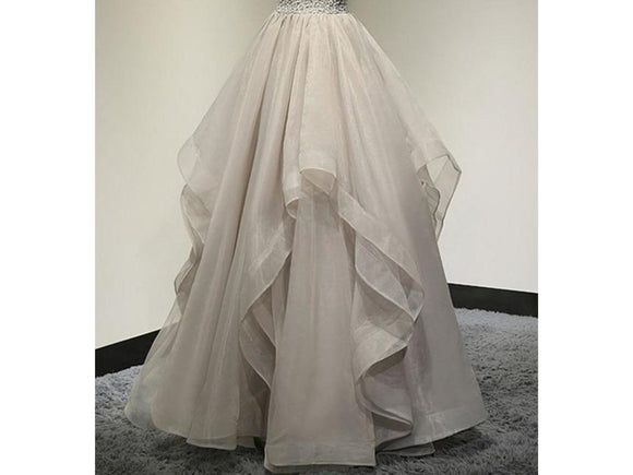 Rosy Brown Pretty Chic Ruffles Bridal Long Organza Skirt Custom Made Zipper Maxi Skirt Tutu