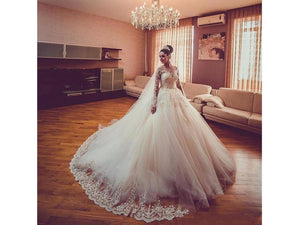 Rosy Brown Long Lacy Sleeved Wedding Dress Bridal Gown Beaded Floor Length with Appliques Tulle