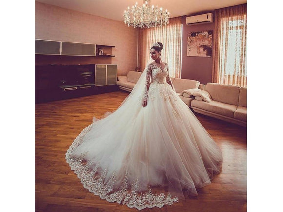 Long Lacy Sleeved Bridal Gown Beaded Floor Length with Appliques Tulle