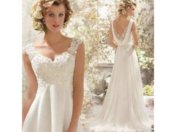 V-neck Backless Chiffon Dress for Summer Beach Wedding Bridal Gown Bohemian Side Split Wedding Gown Lace Bodice
