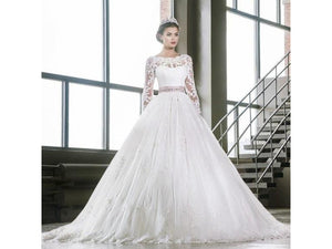 Light Gray Bridal Gown Lace Wedding Dress Beads Sash Floor Length Long Sleeves