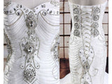 Gray Luxurious Mermaid Style Wedding Dress with Crystals Lace and  Fluffy Tiers Formfitting Bridal Gown