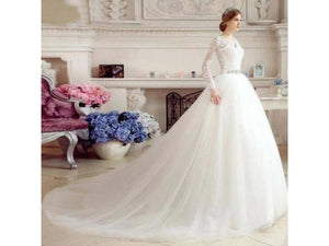 Gray A-line V-neck Bridal Dress Fitted Waist Long Lace Sleeves Wedding Gown Custom with Train