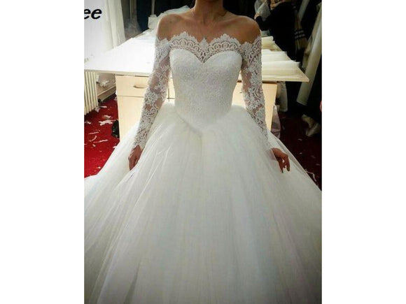 Vintage Style Lace Wedding Dress Off the Shoulder Long Sleeve Princess Bridal Gown with Train