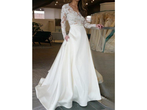 Light Gray Satin Bridal Gown Appliques Long Lace Sleeves Wedding Dress with Pockets