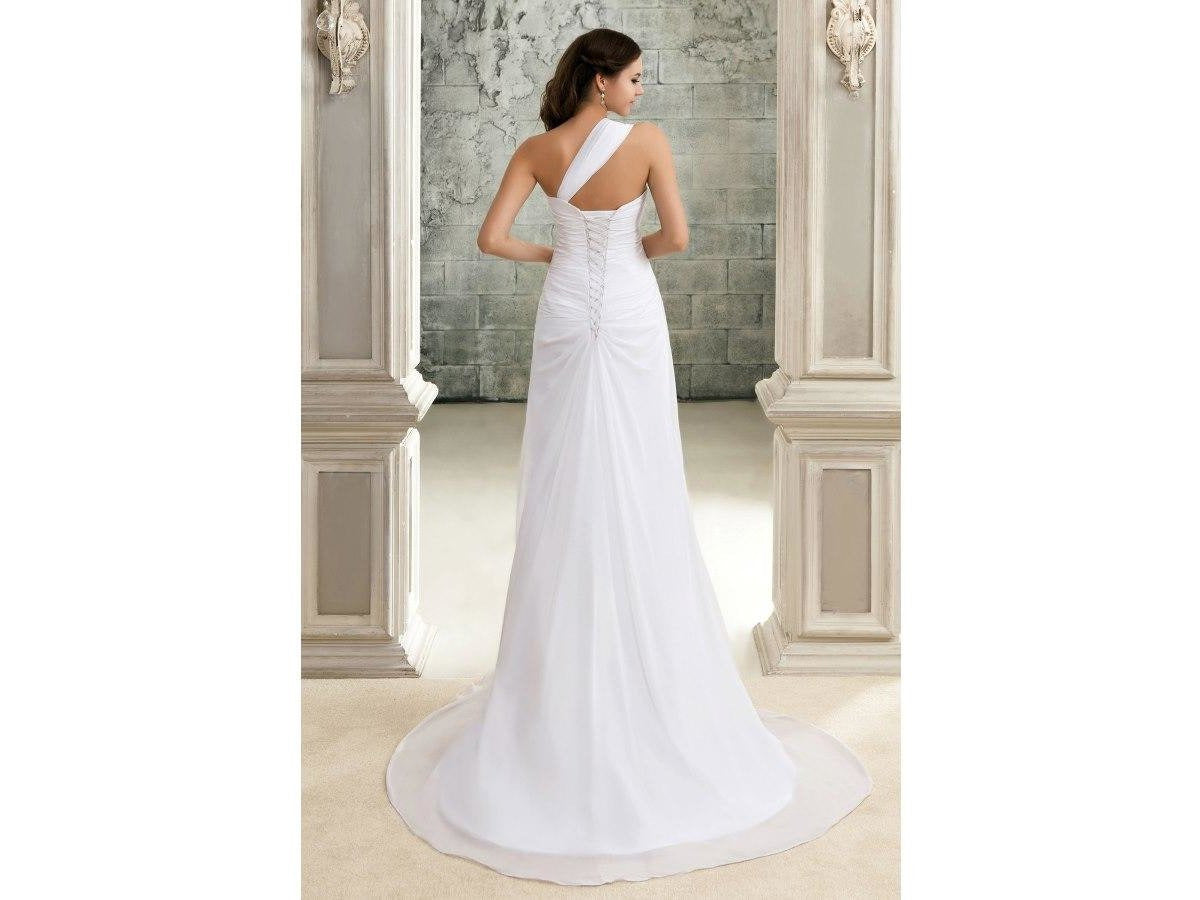One-Shoulder Form Fitting Bridal Gown New Chiffon Wedding Gown