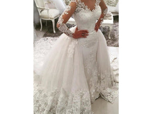 Gray Long Lacy Sleeves Vintage Style  Appliques Watteau Train Wedding Dress Bridal Gown
