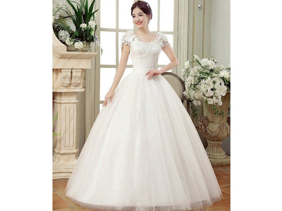 Antique White Summer Lace Cap Sleeve Floor Length Dress for Wedding Bridal Gown Sweetheart Neckline