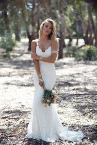 Dim Gray Long Lace Wedding Gown Mermaid Backless Spaghetti Straps Bridal Dress Custom Made robe de mariage