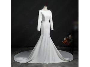 Black Form Fitting Satin Wedding Buttons Backless Long Sleeves Bridal Gown with Train