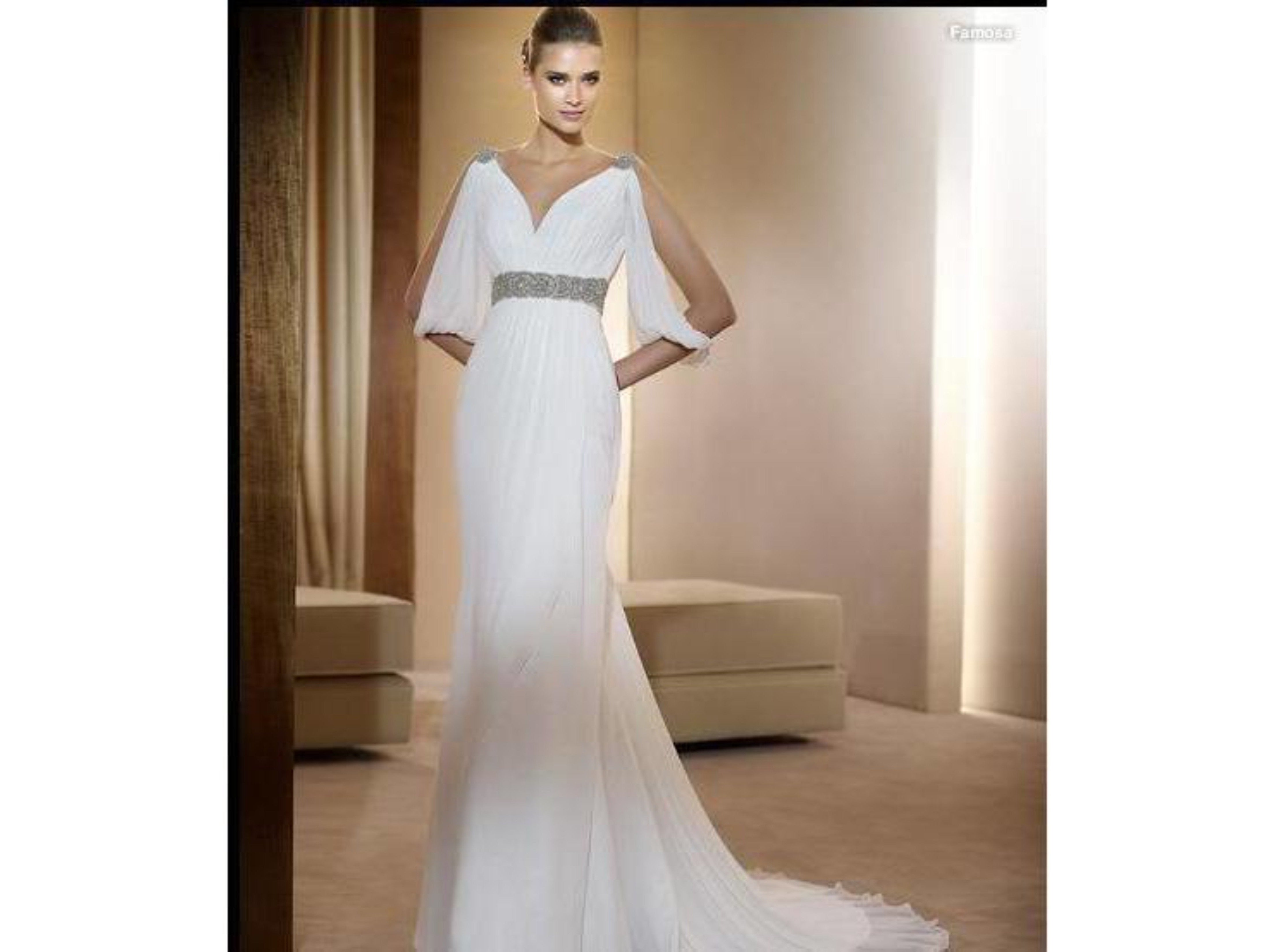 Free Shipping for this elegant V Neck Chiffon Wedding Bridal Gown