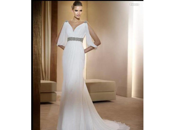 Rosy Brown Free Shipping for this elegant V Neck Chiffon Wedding Bridal Gown