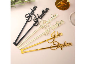 Bisque Personalized swizzle sticks table centerpiece Party picks Name drink stirrers Bridal shower Custom love stir stick Wedding decor