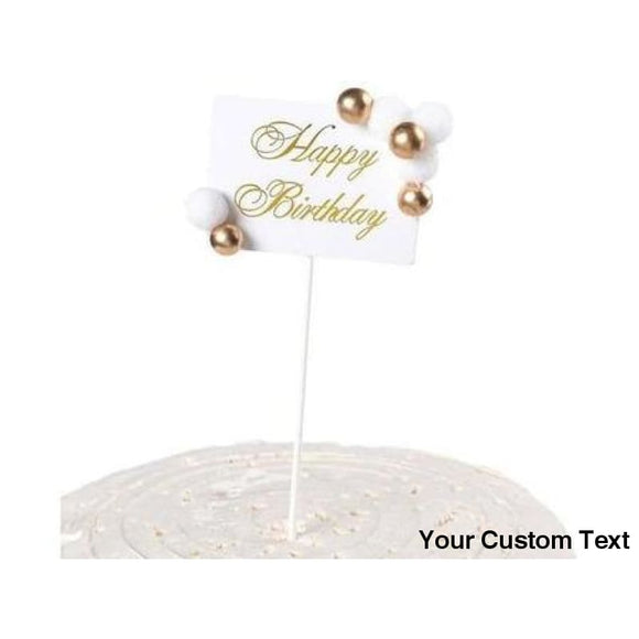 Gray Royal Style Platinum Banner Birthday Party Cake Topper Gold Ball Star