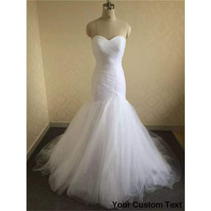 Ruched Tulle Mermaid Wedding Dress Lace Up White/Ivory