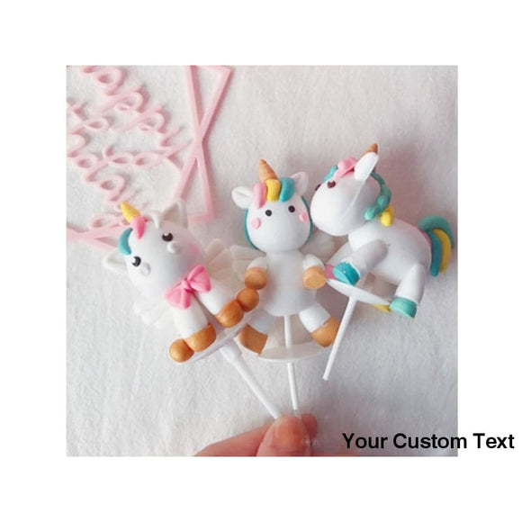 Gray Unicorn Birthday Cake Topper