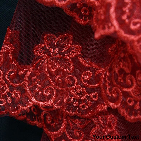 Wedding Veils 1.5/3/5M Lace Edge Red Bridal Accessories