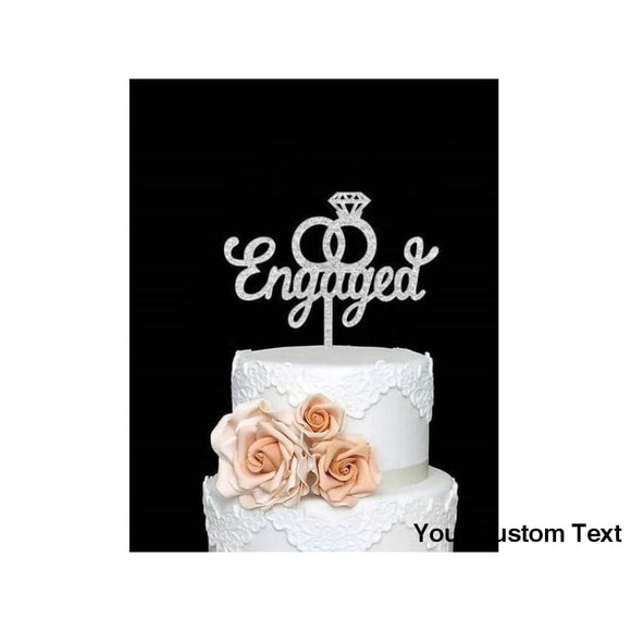 Black We're Engaged Cake Topper, Engagement, Bridal Shower, Bachelorette Party Gold Glitter