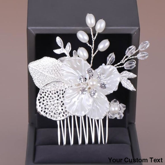 White Flower Crystal Simulated Pearl Hair Combs Headdress