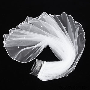 Women Tulle Bridal Veil Pearl Wedding with Hair Comb for