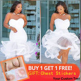 Women White Party Tube Tops Dress Wedding Off Shoulder