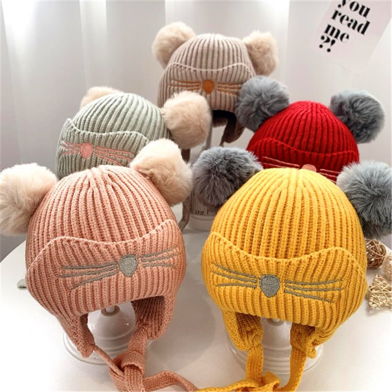 Free Size 6-24 Months Baby Unisex Knit Cover Ears Hat,5 Color