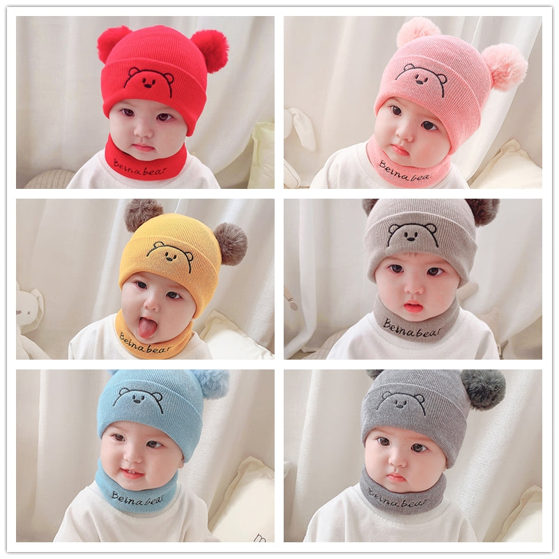 Free Size 0-12 Months Baby Boys and Girls Soft Warm Knitted Hats Scarf Sets