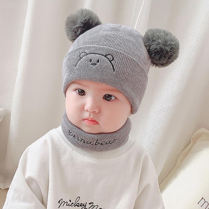 Free Size 0-12 Months Baby Boys and Girls Soft Warm Knitted Hats Scarf Sets,6 Color