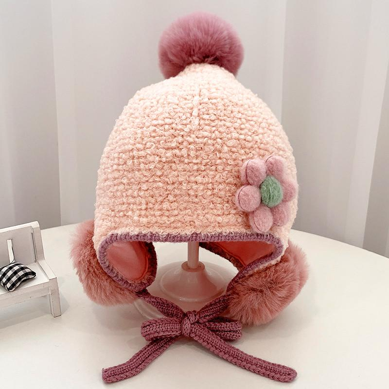 Free Size 3-24 Month Baby Girls Soft Warm Flowers Hats,5 Color