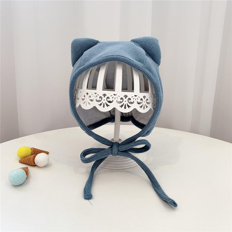 Free Size 2-12 Month Unisex Soft Warm Knitted Baby Cat Ears Hats,4 Color