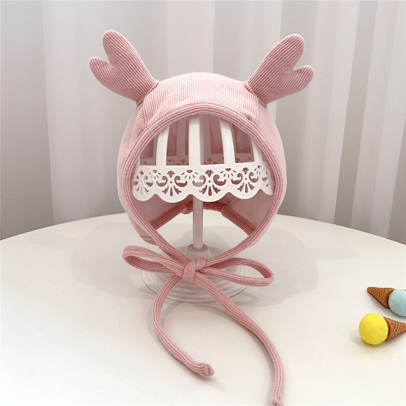 Free Size 2-12 Month Baby Unisex Soft Warm Knitted Baby Antlers Hats,4 Color