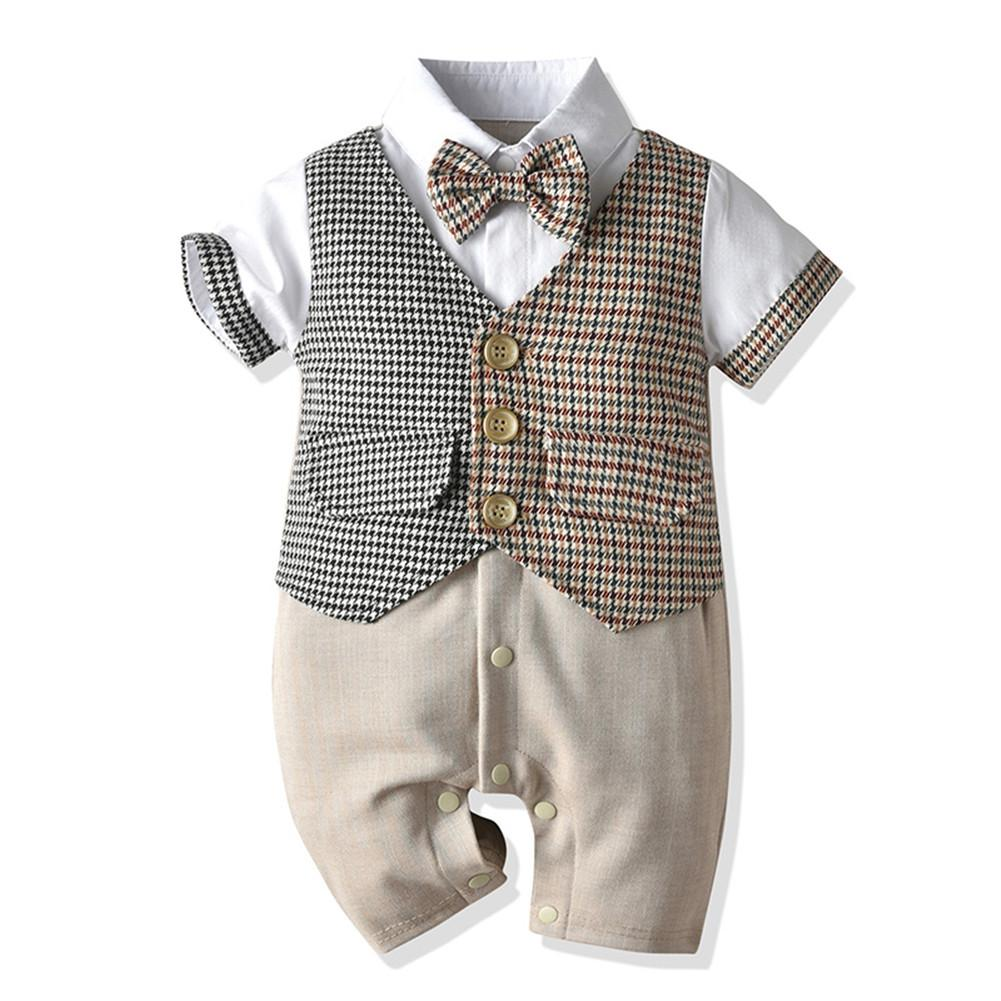 Baby Boy Short Sleeve Gentleman Bow Tie Romper (0-18 months)