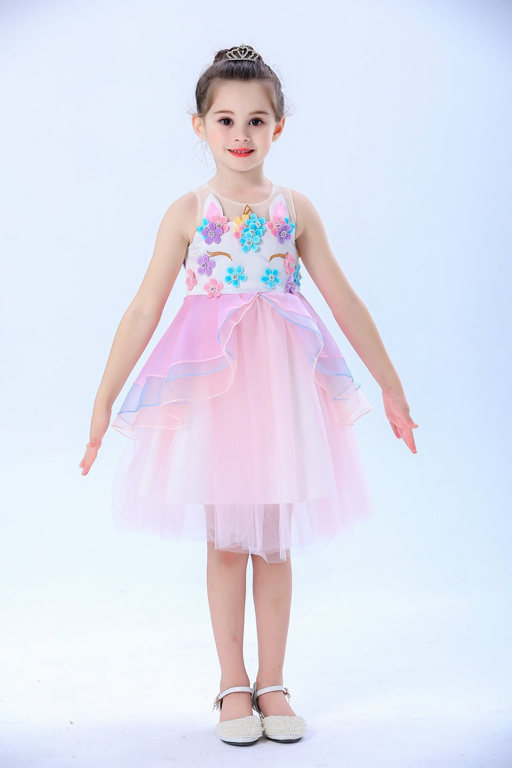 Little Girl Pink Unicorn Princess Dress (2-10 Years)