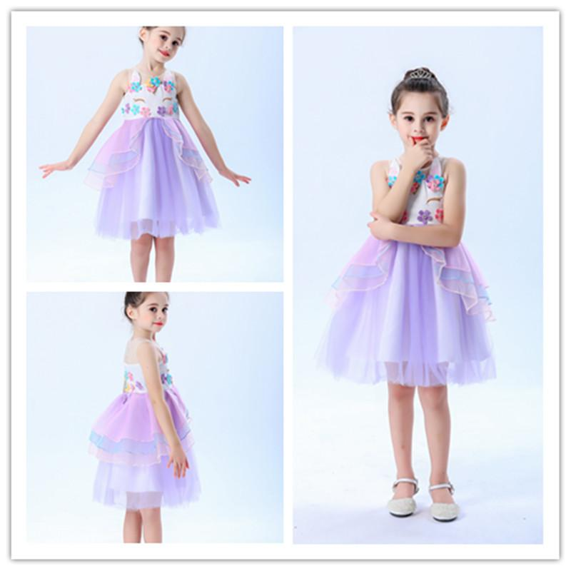 Little Girl Purple Unicorn Princess Dress Up Costumes(2-10 Years)