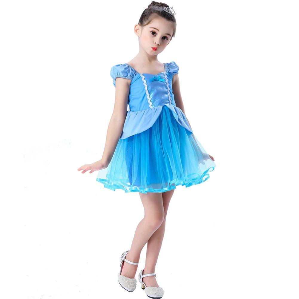 Girls Blue Elastic Waist Halter Princess Dresses (1-8 Year)