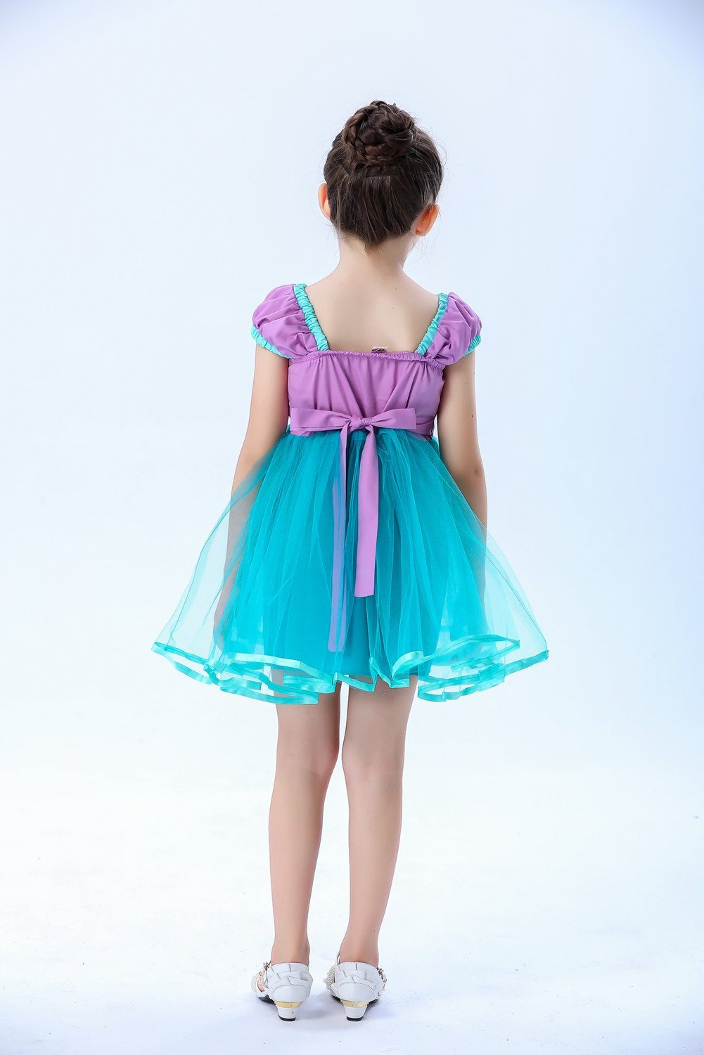 Girls Green Elastic Waist Halter Princess Dresses (1-8 Year)