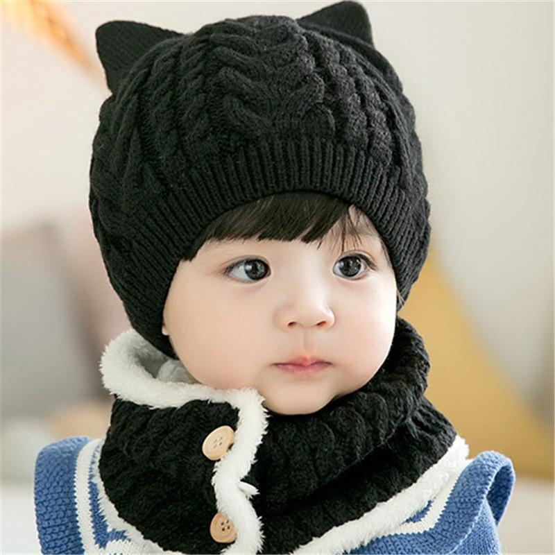 6-12 Months Baby Boys and Girls Soft Warm Knitted Hats Scarf Sets,6 Color