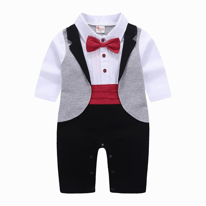Baby Boys Tuxedo Gentleman Onesie Romper Jumpsuit Wedding Suit