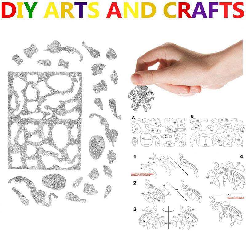 Art Coloring Painting 3D Puzzle Set for Kids Age 7+,6 Graphics + 24 Pens Per Box(5 types can be selected)