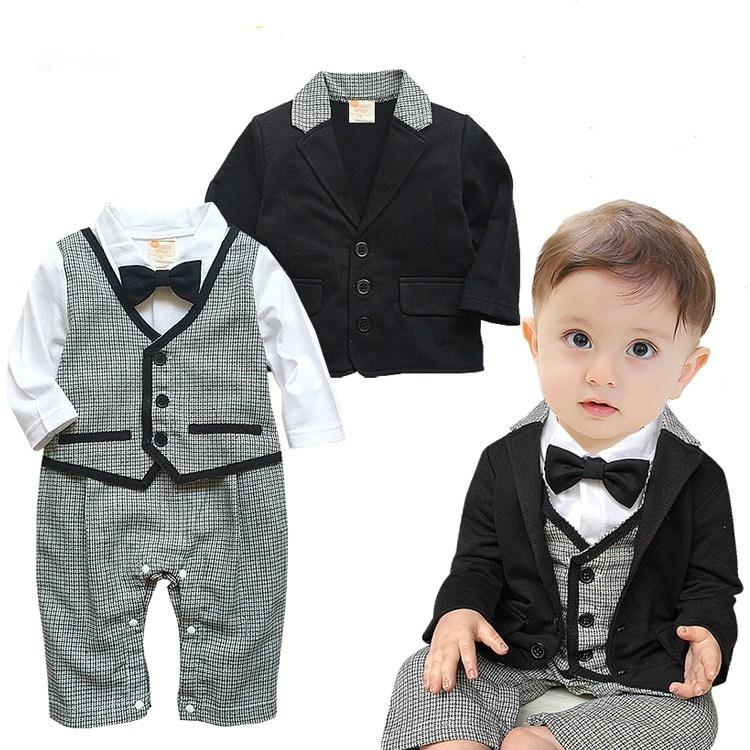 2PCS Baby Boys Tuxedo Gentleman Romper and Coat Suit (3-18 M)