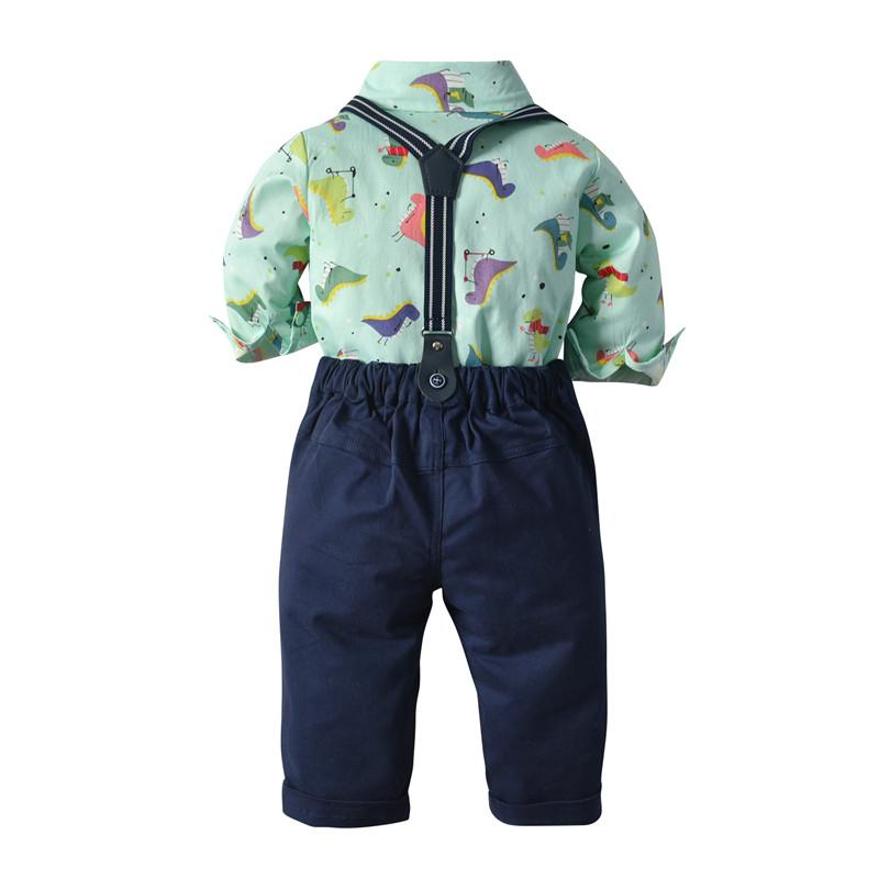Toddler boy long-sleeve shirt bow-tie pant overalls sets 3038 (6 months-5 years)