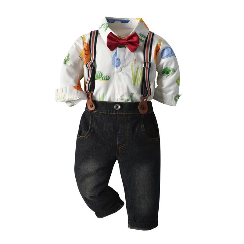 Toddler boy long-sleeve shirt bow-tie pant overalls sets 3037(6 months-5 years)