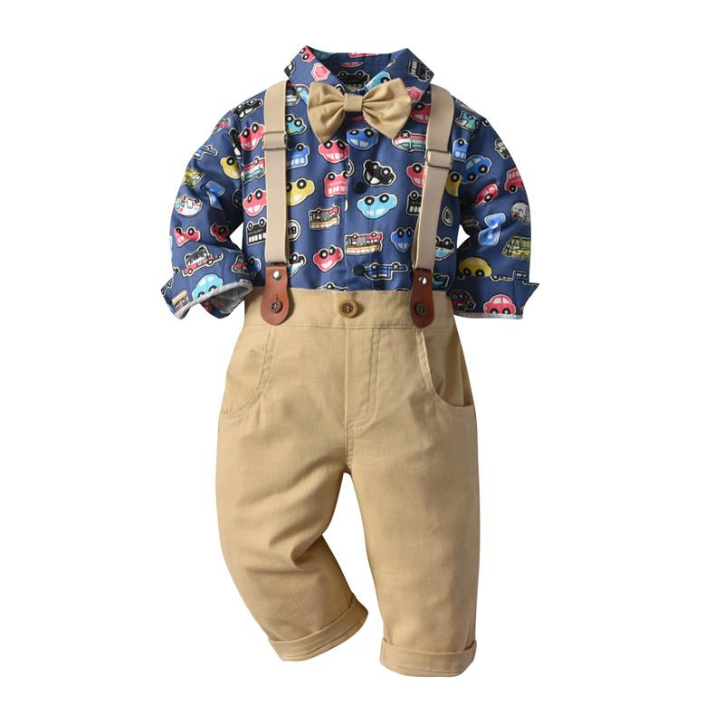 Toddler boy long-sleeve shirt bow-tie pant overalls sets 3036(6 months-5 years)