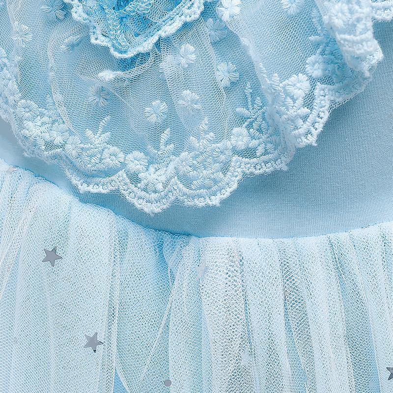 Little girls blue short-sleeved sequined princess dress costumes(3-12 years)