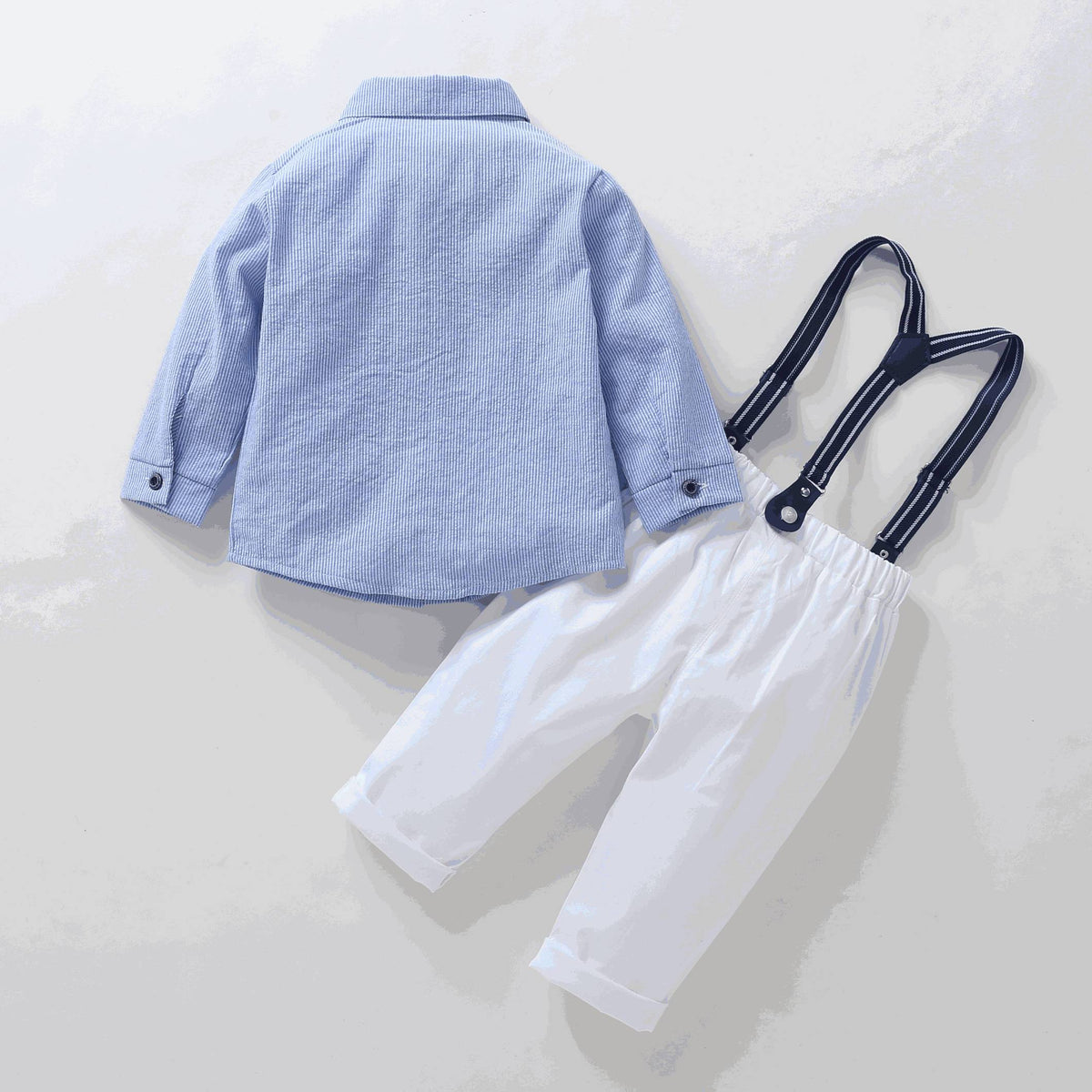 Little boy blue shirt bow tie white pants suspender sets (1-5 years)