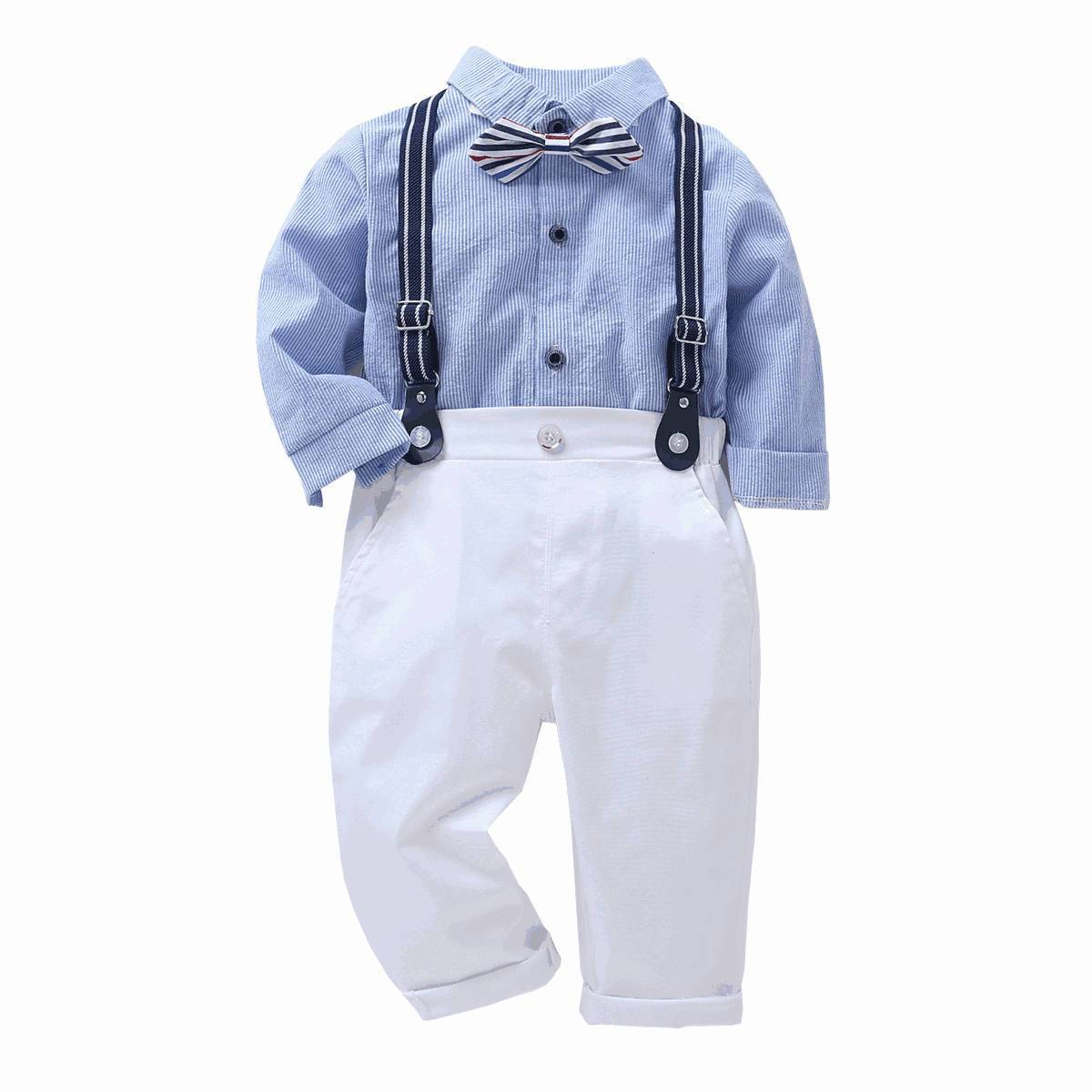 little boys 4pcs blue shirt bow tie white pants suspender clothes suit