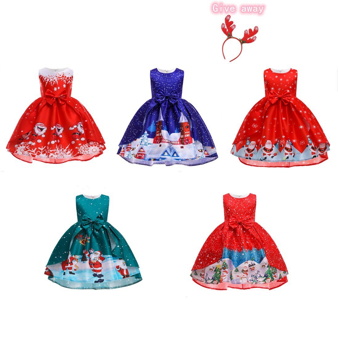 Christmas princess dress for little girls aged 3-10, with elk hair accessories